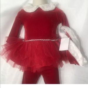 Girls Christmas Santa Outfit Red Velour 24 Months